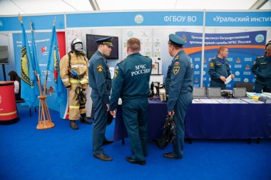 NOGINSK/ RUSSIA - JUNE 06, 2018. International exhibition Complex Safety-2018. Noginsk Rescue Center of the Ministry of emergency situations, town of Noginsk, Moscow region, Russia.