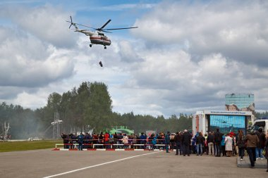 NOGINSK/ RUSSIA - JUNE 06, 2018. Helicopter MI-8 RF-32781 flying over the site of Noginsk Rescue Center of the Ministry of emergency situations. International exhibition Complex Safety-2018, Russia.