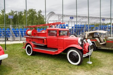 NOGINSK/ RUSSIA - JUNE 08, 2018. Retro fire truck PMG-1 on the chassis of the car GAZ-AA. International exhibition Complex Safety 2018. Noginsk Rescue Center, Moscow region, Russia