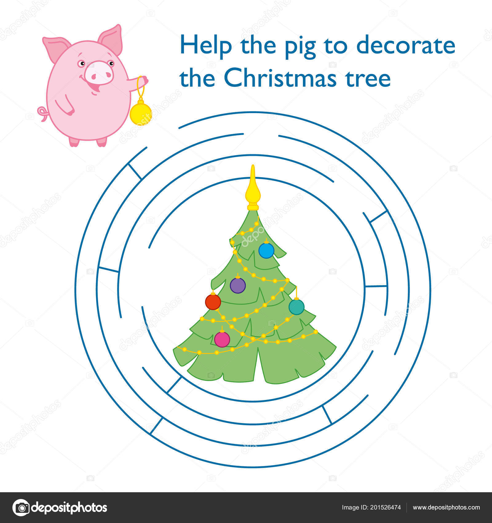 Puzzle Children Help Pig Reach Christmas Tree Labyrinth Symbol New