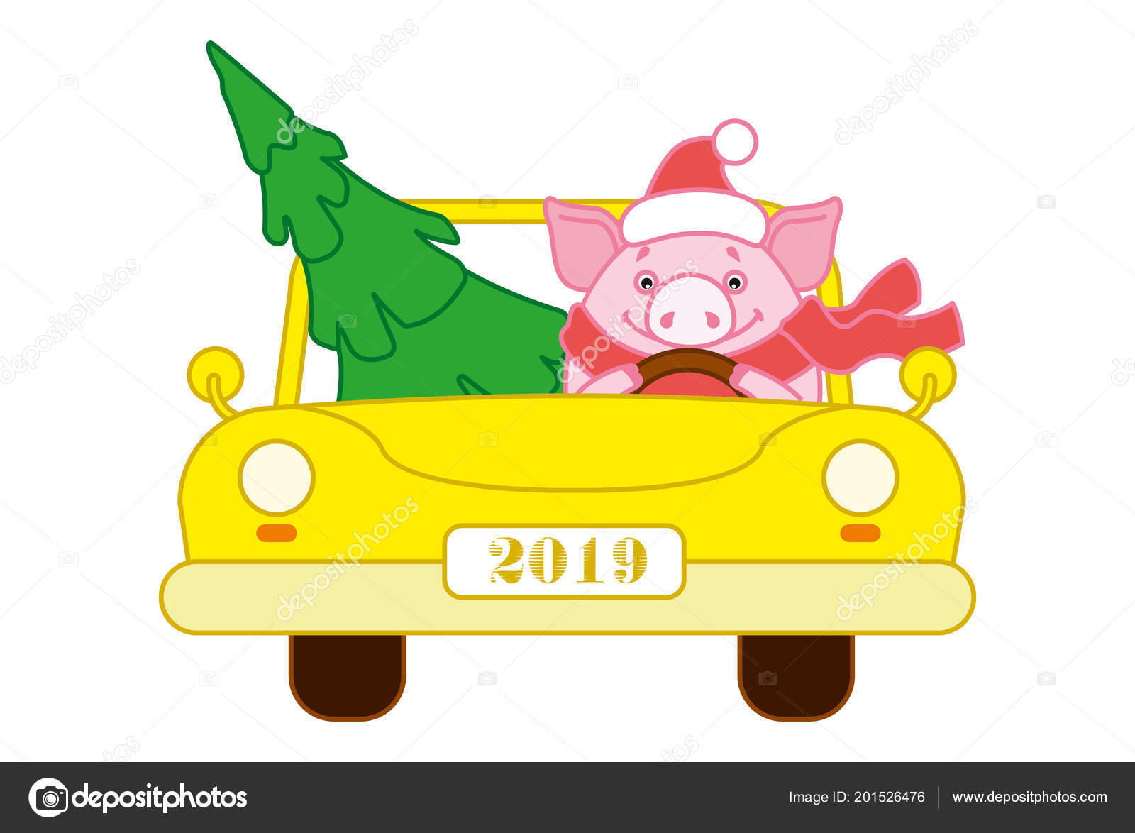 Pig Hat Scarf Yellow Car Lucky Christmas Tree Symbol New