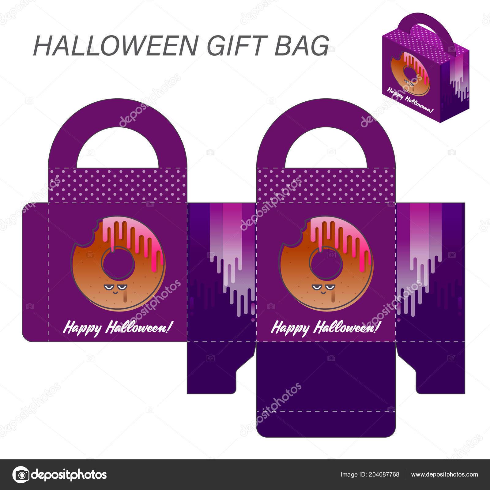 template paper gift box handles halloween sweets monster bitten