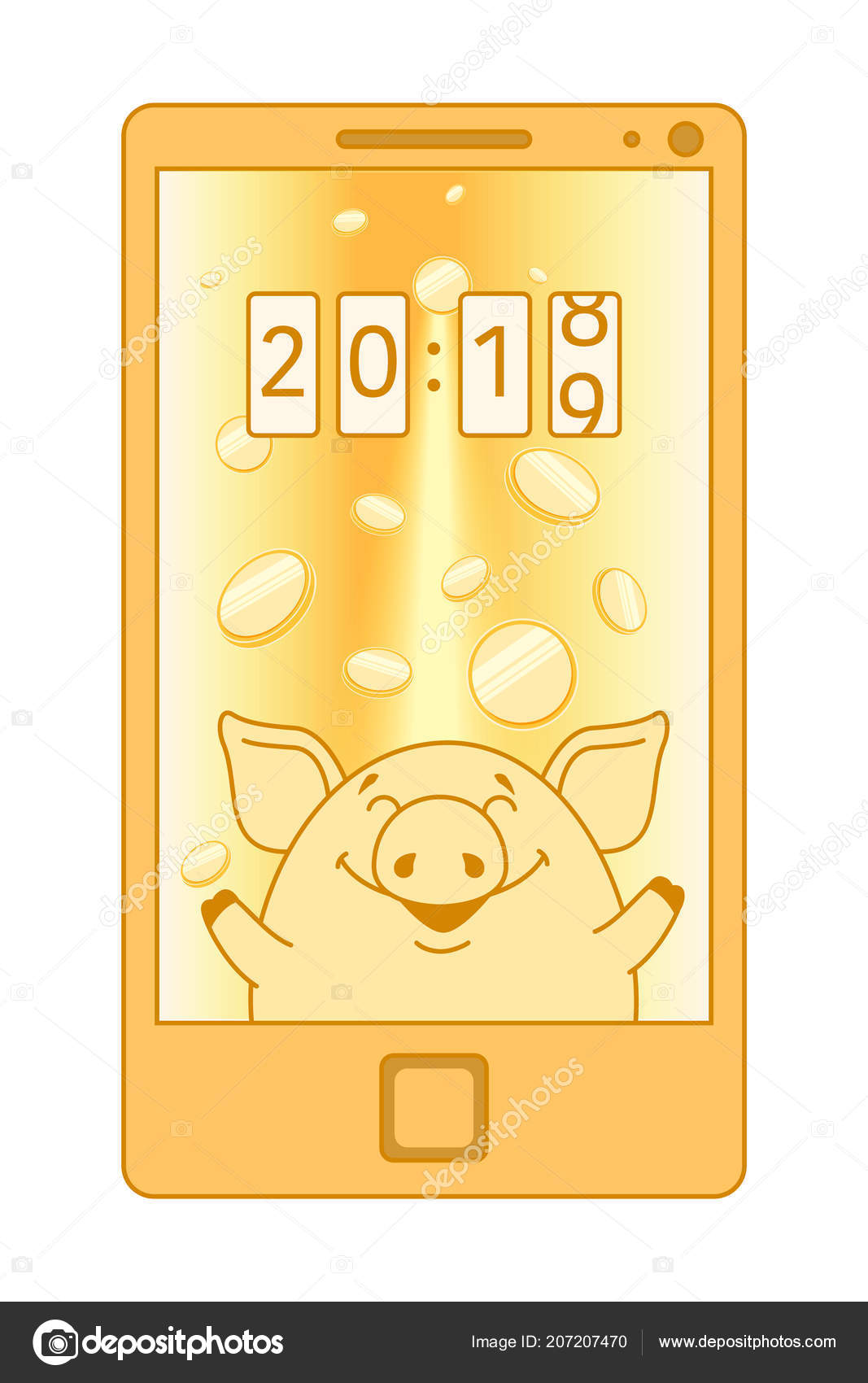Yellow Phone Screen Saver Monitor Pig Catches Gold Coins Her