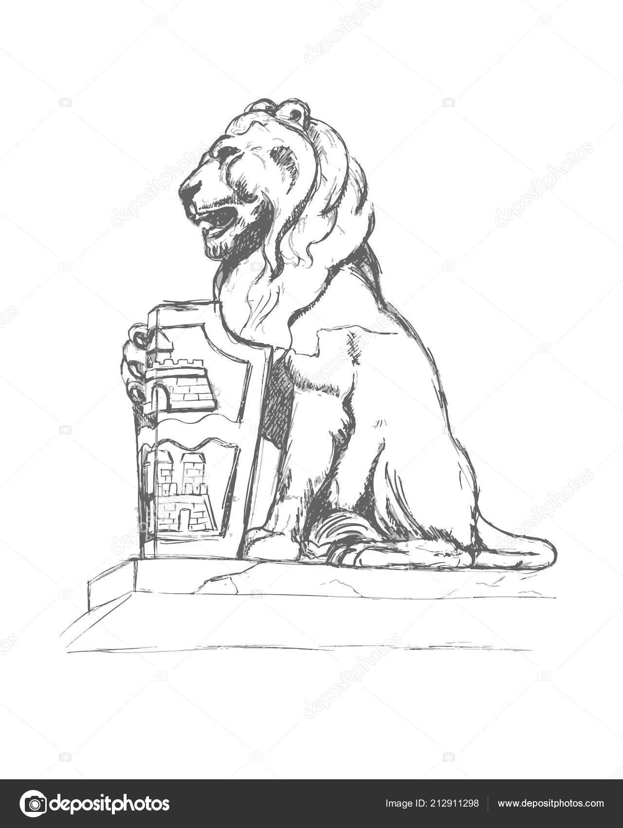 Escultura León Con Escudo Armas Budapest Lápiz Sobre Papel Dibujo
