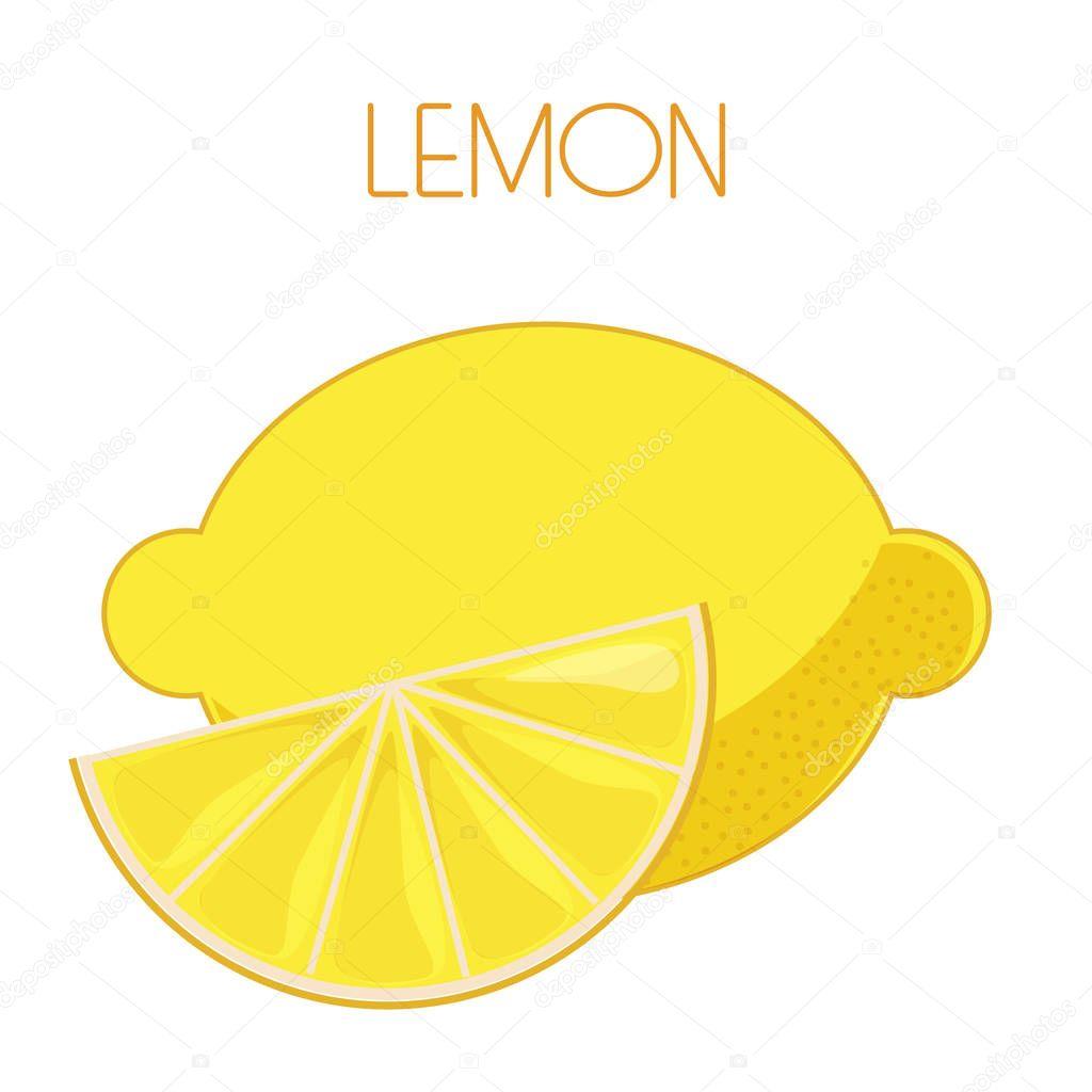 Lemon. Vector image on isolated background