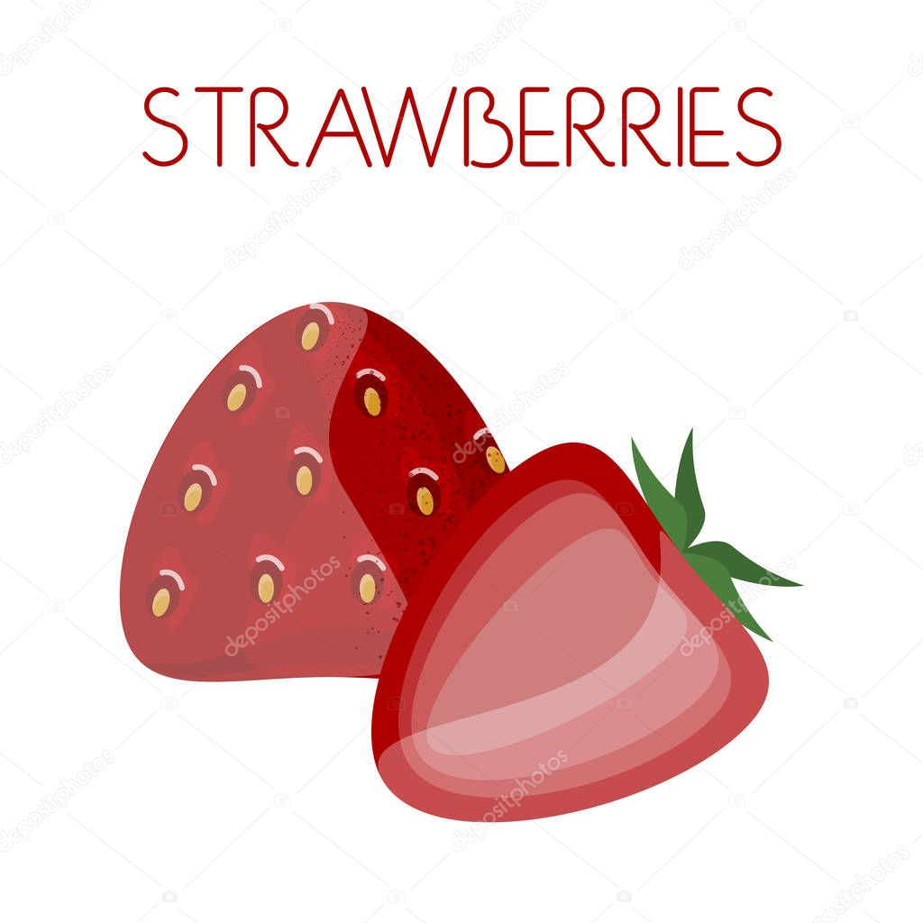 Strawberry. Vector image on isolated background