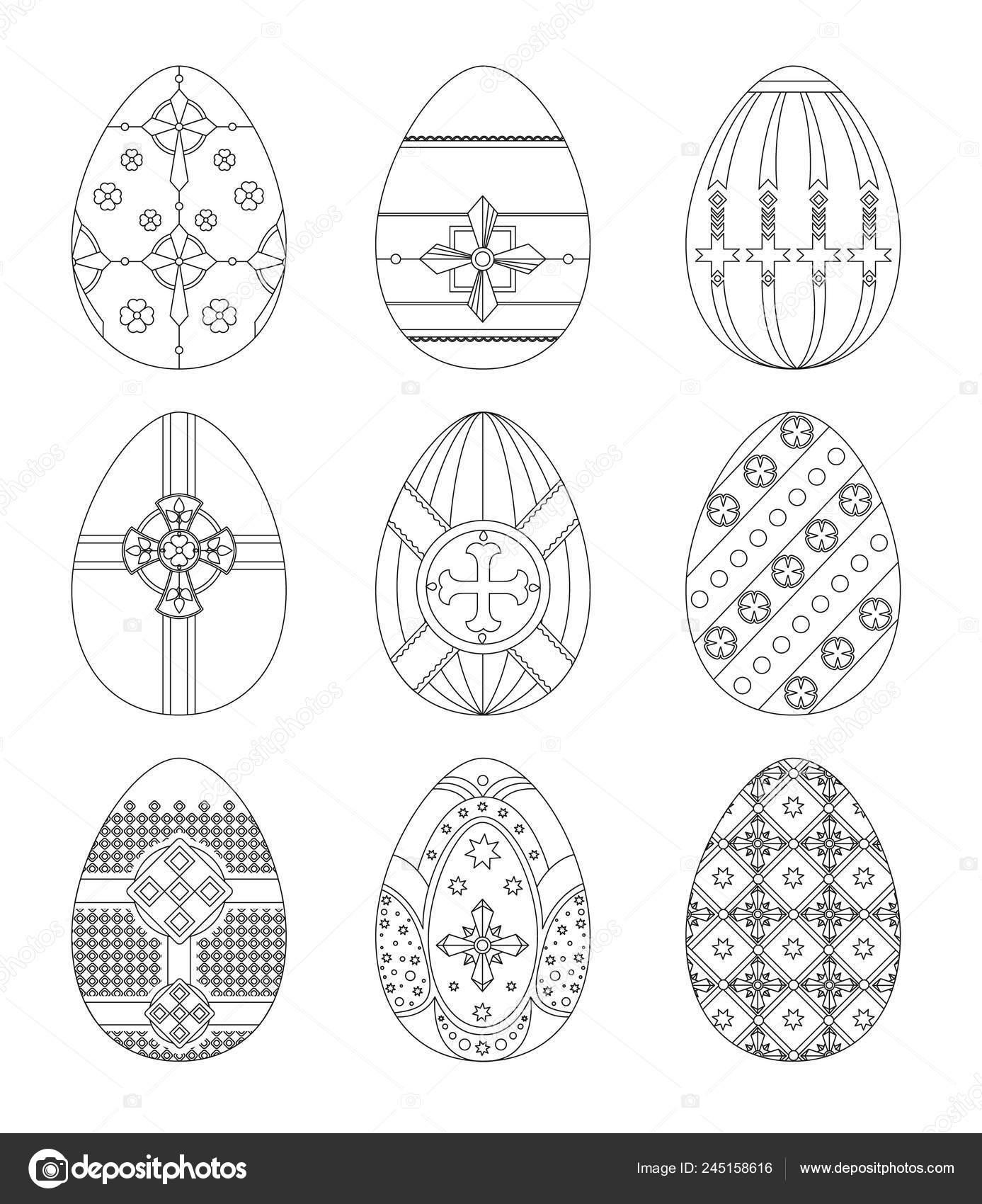Conjunto Huevos Pascua Con Patrones Usando Diferentes Tipos