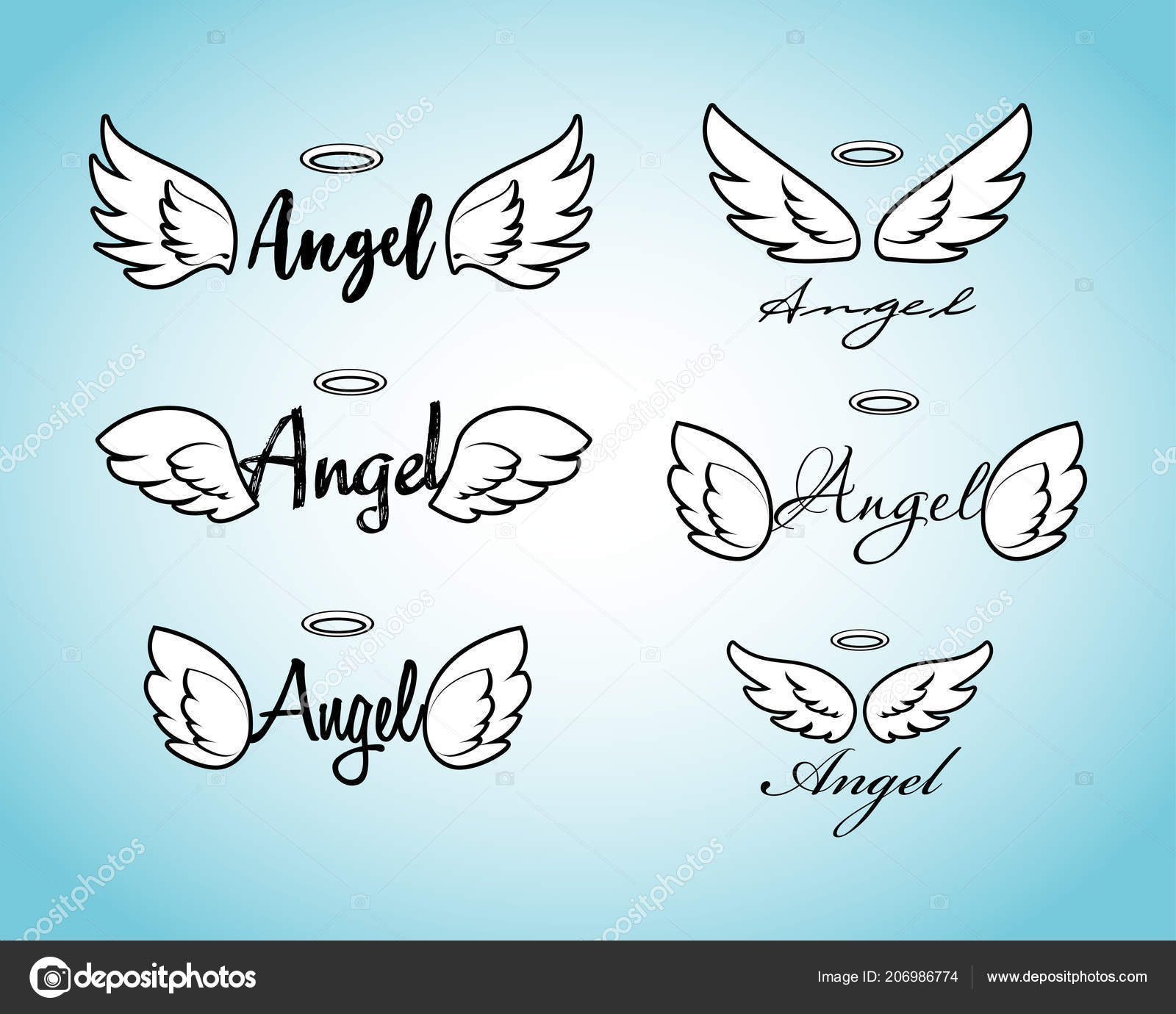65b5d811b Doodle flying angel wings with halo. Sketch angelic wings. Freedom and  religious tattoo vector design isolated on white background.