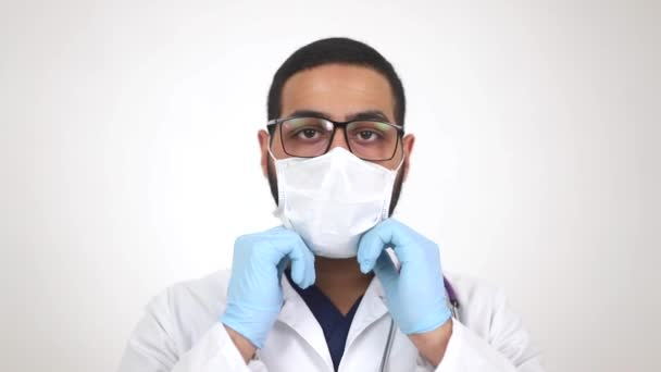 Young Egyptian doctor in a medical mask. Vaccination against