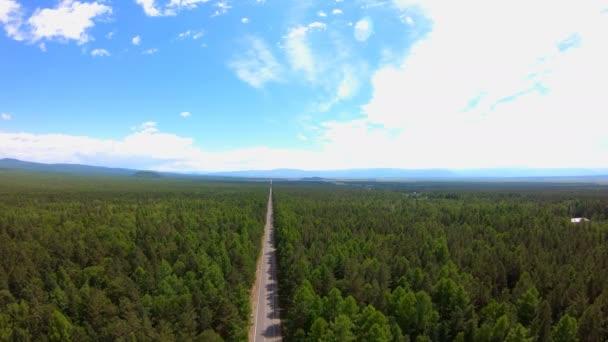 Letecký pohled na silnici lesem. Ptáci-pohled. Krásná krajina