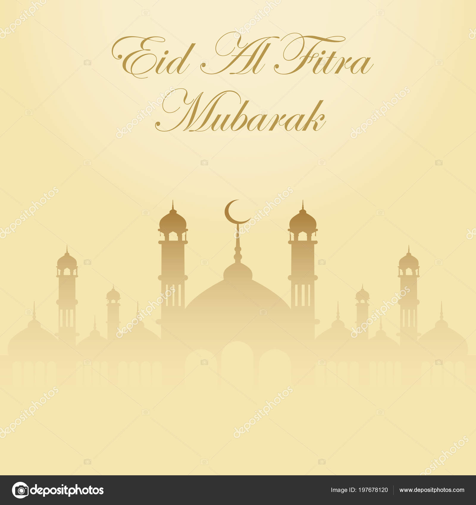 Eid Mubarak Greeting Background For The Muslim Holiday Vector