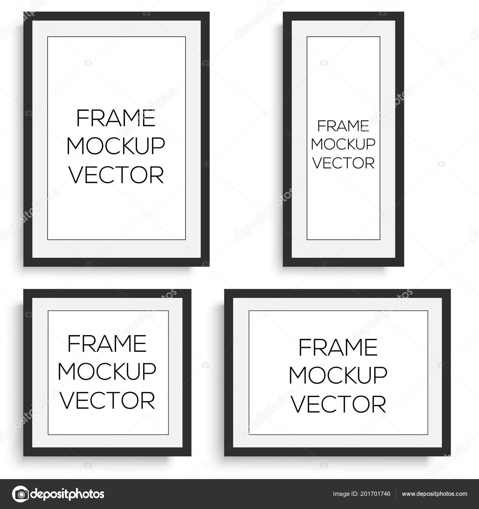 Realistic Horizontal And Vertical Black Photo Frame Vector