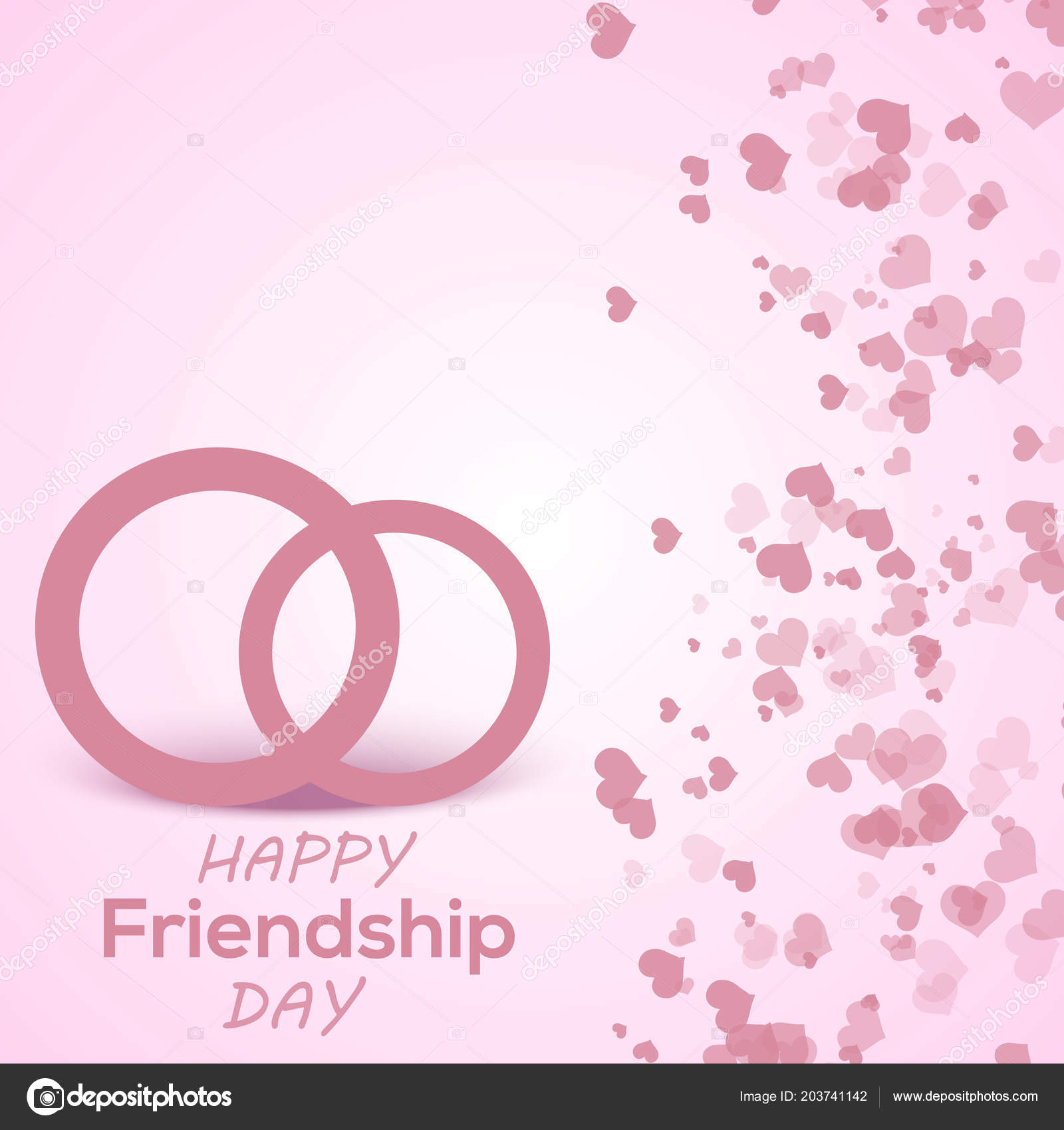 Happy Friendship Day Greeting Card With Hand Written Text And Heart