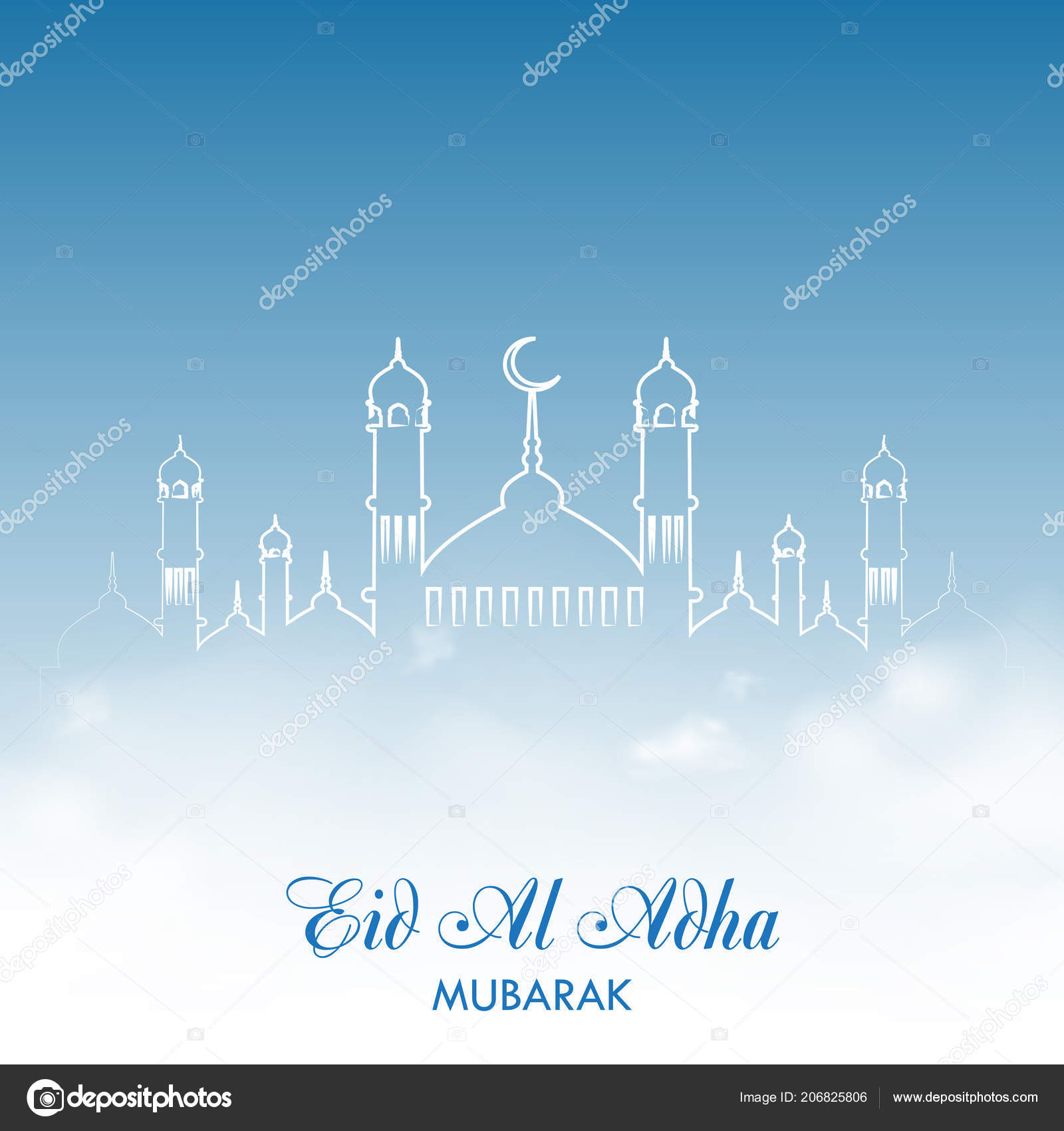 Eid Al Adha Greeting Card With Sky Clouds And Mosque Vector