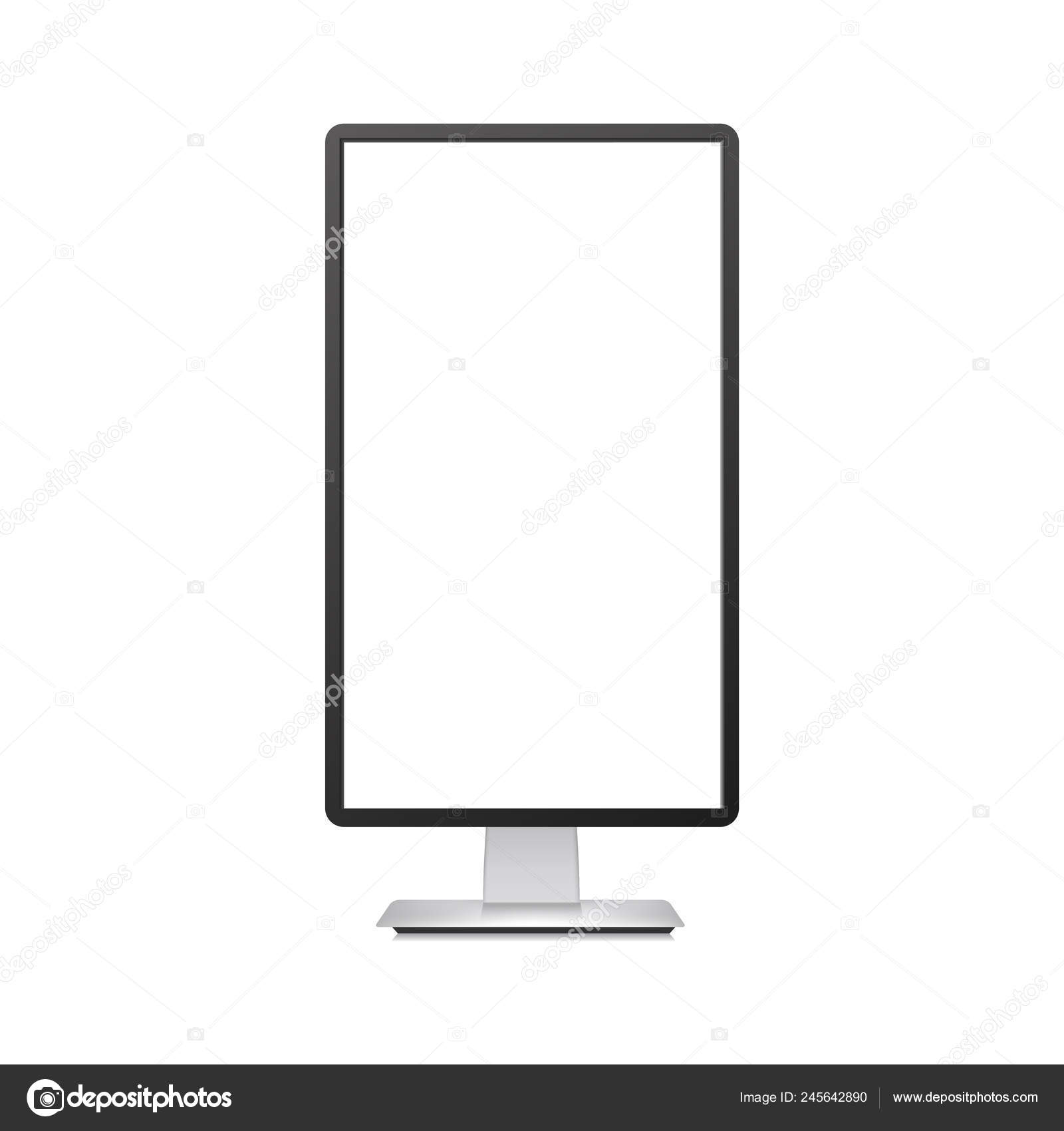 Realistic vertical TV monitor mockup with white screen  Vector