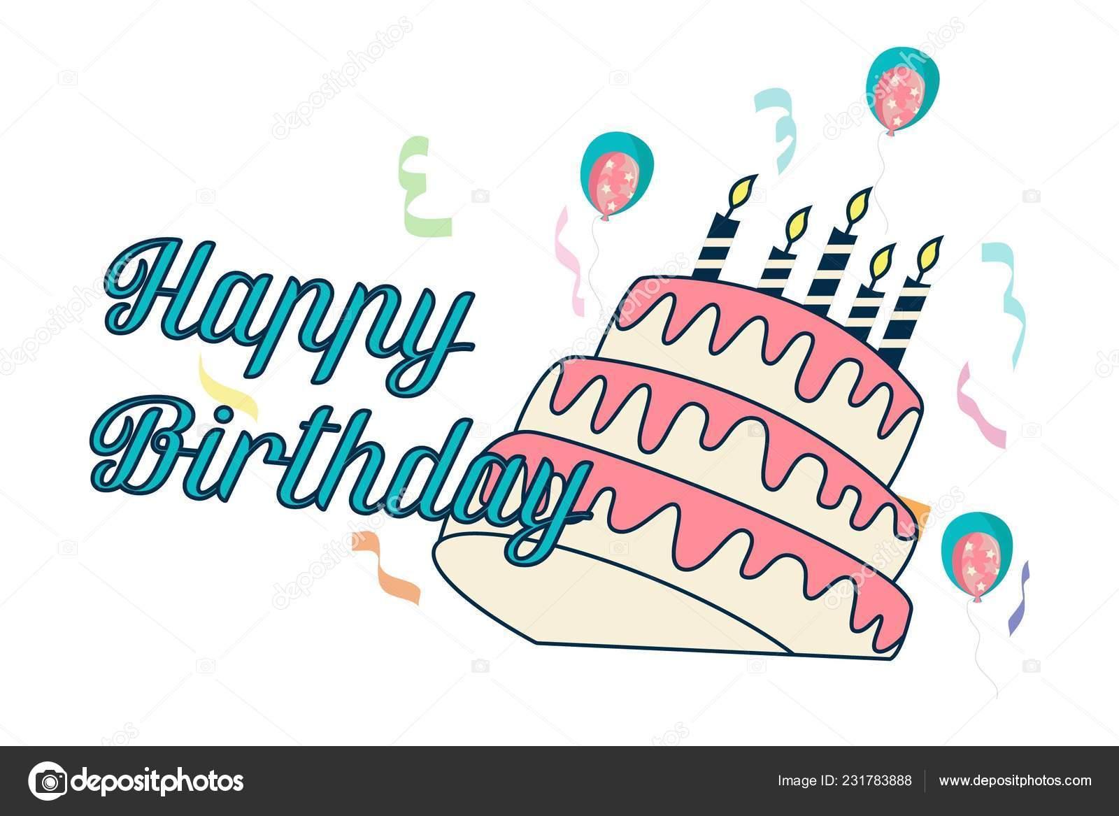 happy birthday sticker cake cute happy birthday sticker banner cake candles vector illustration isolated stock vector c f1digitals 231783888 https depositphotos com 231783888 stock illustration cute happy birthday sticker banner html