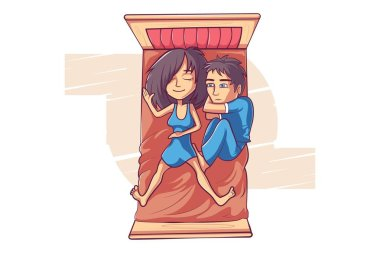 Cute couple is  sleeping on the bed. Vector cartoon illustration. Isolated on a white background.