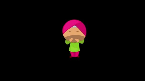 Animation des unglücklichen punjabi sardar. Isoliert auf schwarzem Hintergrund.