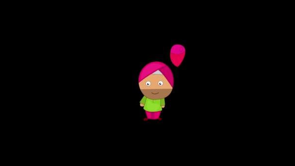 Animation von punjabi Sardar halten Ballon in der Hand. Isoliert auf schwarzem Hintergrund.