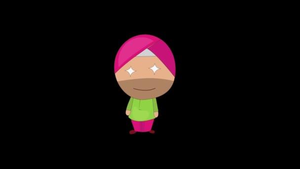Animation von Punjabi Sardar Stern geformte Augen. Isoliert auf schwarzem Hintergrund.