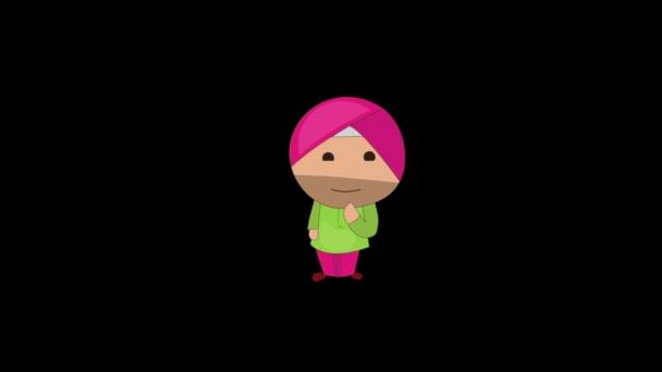 Animation des punjabi Sardar-Denkens. Isoliert auf schwarzem Hintergrund.