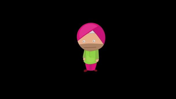 Animation von punjabi sardar wütenden Ausdruck. Isoliert auf schwarzem Hintergrund.