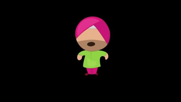 Animation von Punjabi Sardar gähnen. Isoliert auf schwarzem Hintergrund.