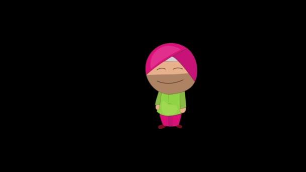 Animation von Punjabi Sardar stehend mit geschlossenen Augen. Isoliert auf schwarzem Hintergrund.