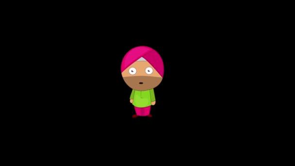 Animation von Punjabi Sardar schockiert Ausdruck. Isoliert auf schwarzem Hintergrund.