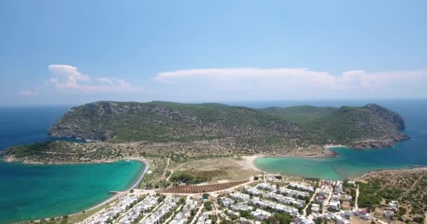 Aerial view of transparent turquoise sea, beautiful sandy beach. No people, Cape Tisan on the Mediterranean sea coast.