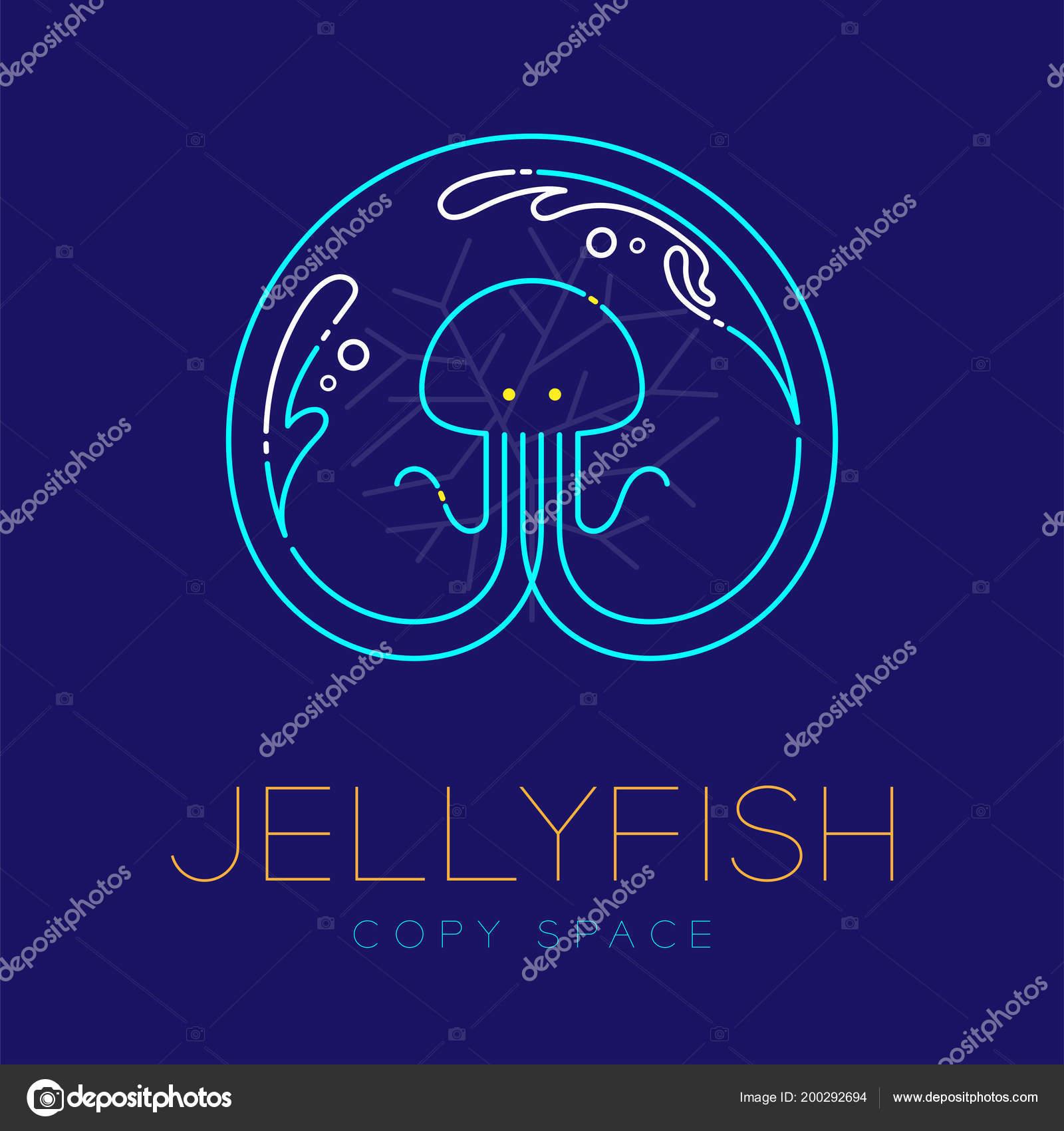 Jellyfish Water Splash Coral Symbol Icon Outline Stroke Set Dash