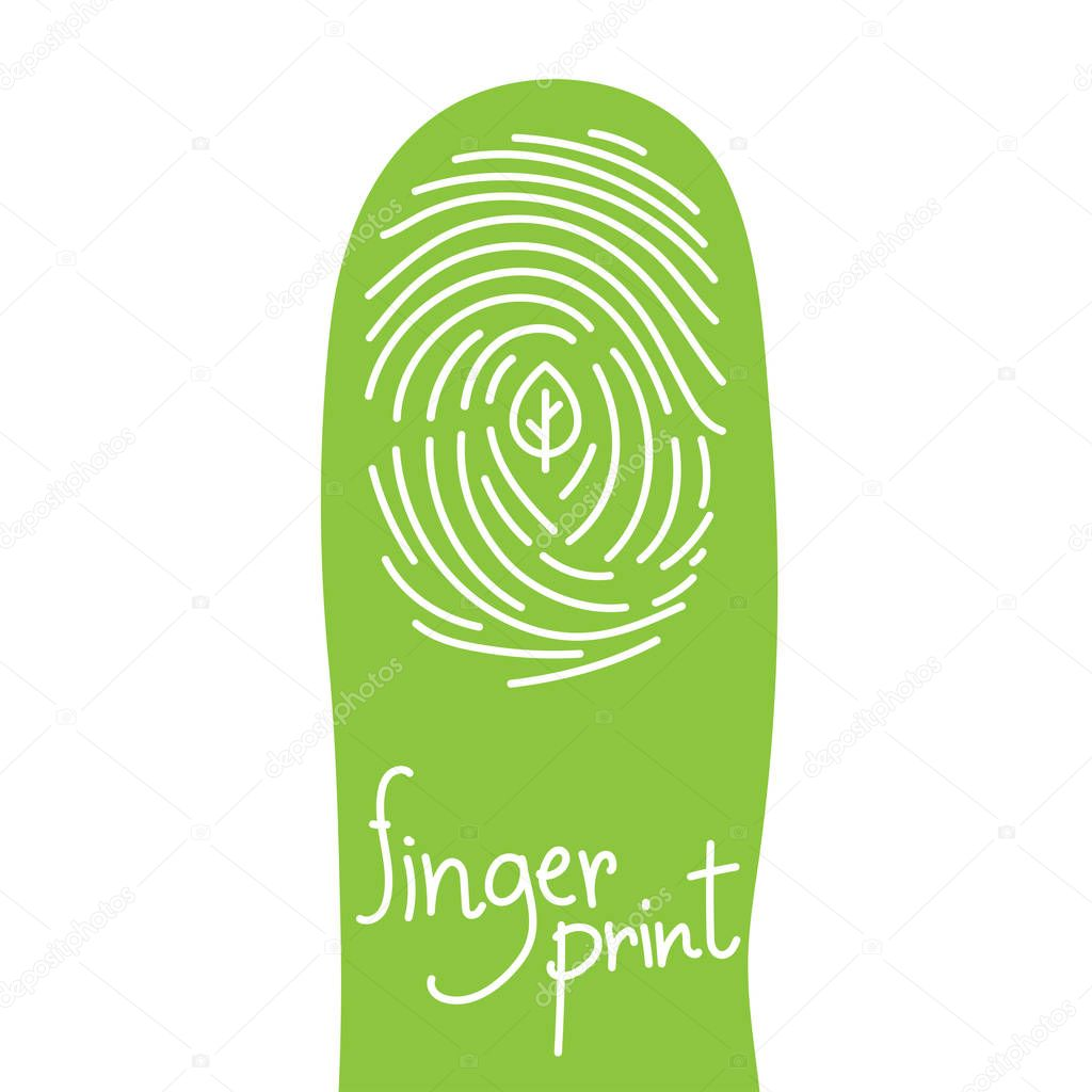 Fingerprint scan on finger silhouette set with leaf symbol concept idea illustration isolated on white background, and Fingerprint text with copy space