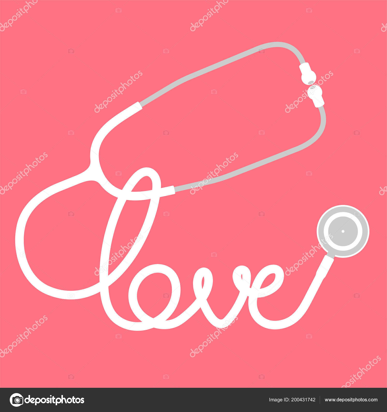 Stethoscope White Color Love Text Made Cable Flat Design Isolated ...