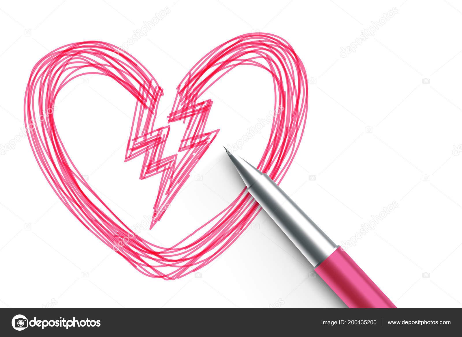 Zlomene Srdce Symbolu Ruka Kresleni Nacrtu Ruzove Barvy Pera