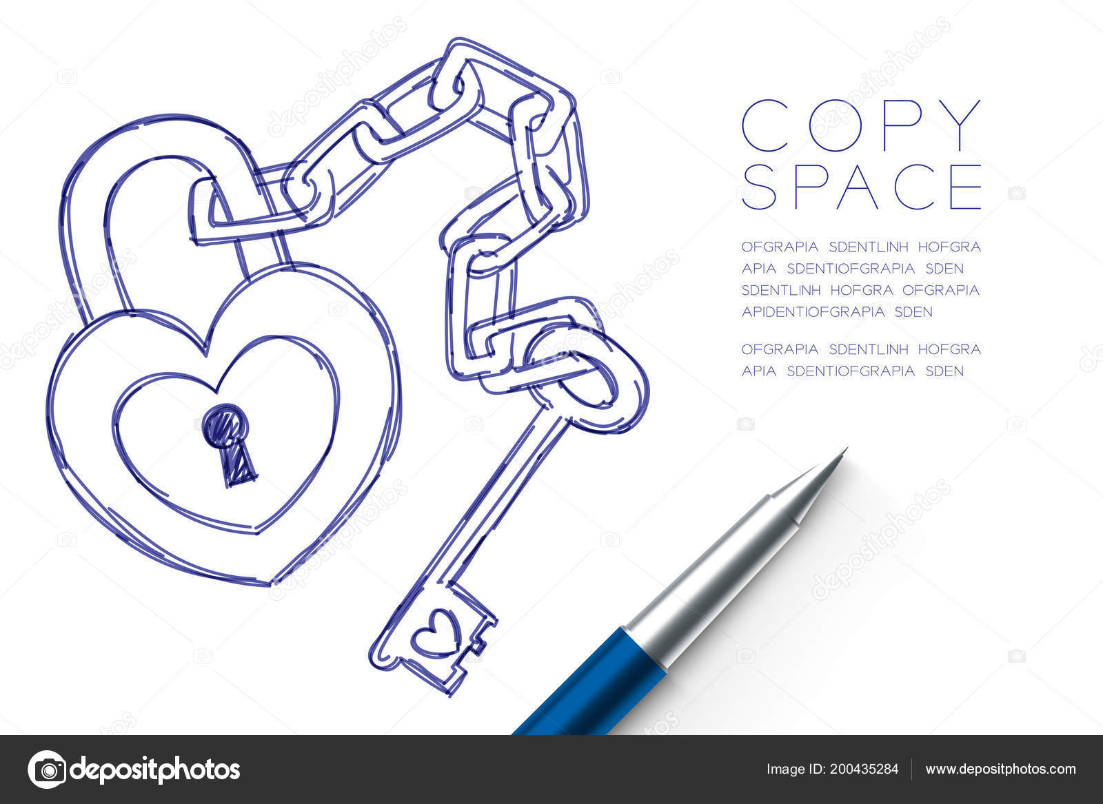 Heart Lock Key Chain Love Couple Symbol Hand Drawing Pen
