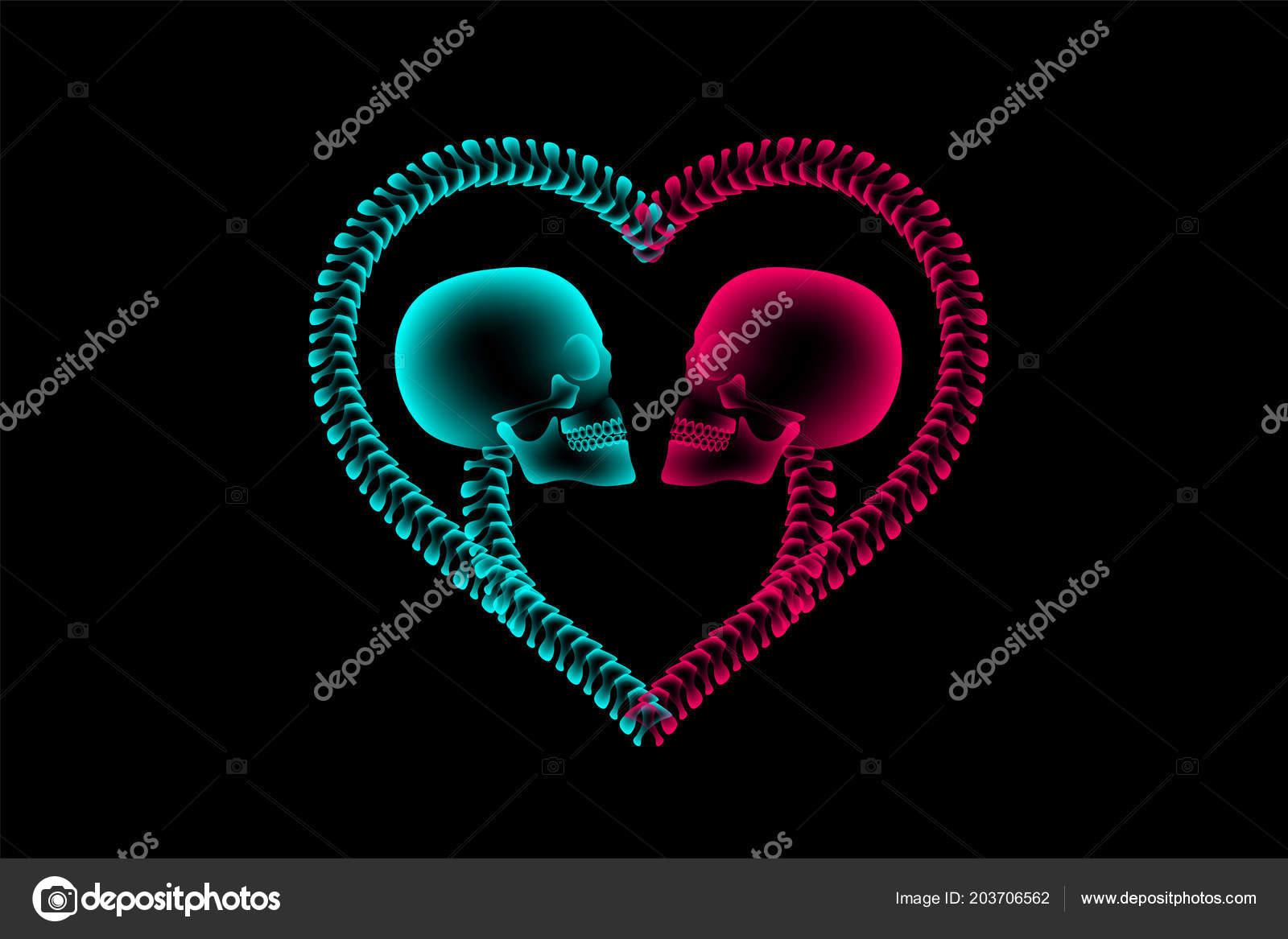 Skull Couple Ray Heart Frame Symbol Made Spine Love Concept