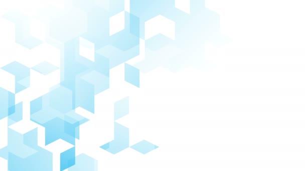 Abstraktní diamant čtvereček vzor izometrické design modrá barva animace 4k na bílém pozadí s kopie prostoru
