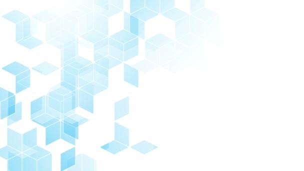 abstrakte Diamant-Quadrat-Schachtel Muster isometrisches Design blaue Farbe Animation 4k auf weißem Hintergrund mit Kopierraum