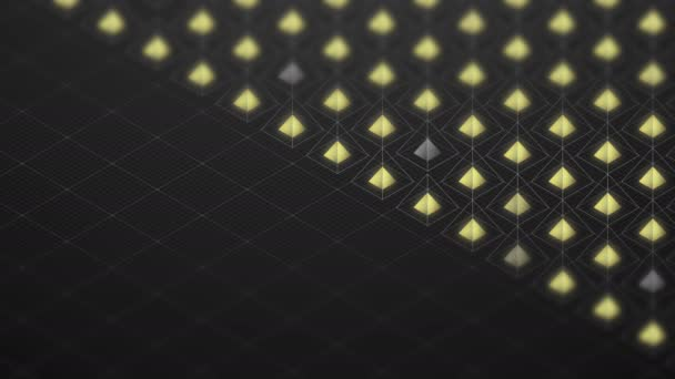 Abstract 3D isometric virtual wireframe square pyramid and yellow core with square mesh pattern illustration, Blockchain technology concept design on black background, seamless looping animation 4K