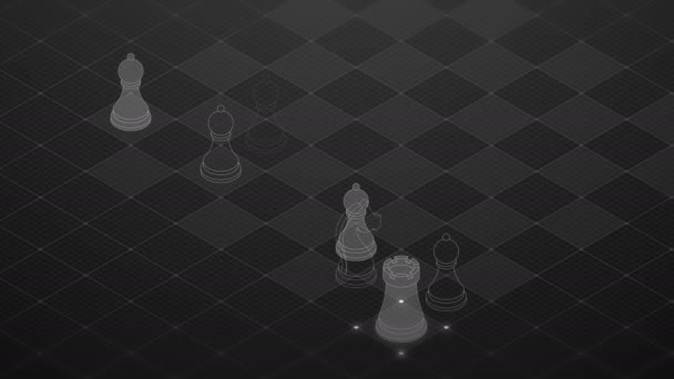 3D isometric virtual transparency chess with square mesh pattern chessboard, Business technology strategy concept design on black background, seamless looping animation 4K with copy space