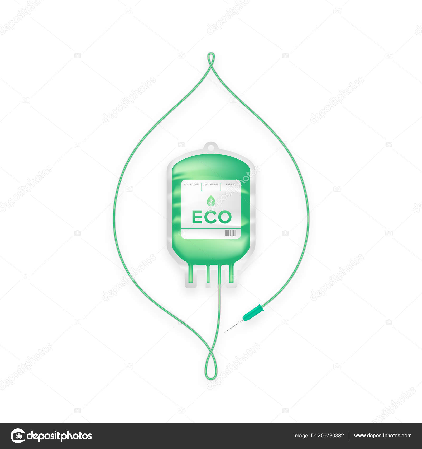Blood Bag Green Color Leaf Sign Frame Shape Made Cord — Stockvector ...