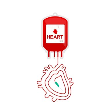 Blood bag red color and Heart organ sign shape made from cord illustration flat design isolated on white background, with copy space