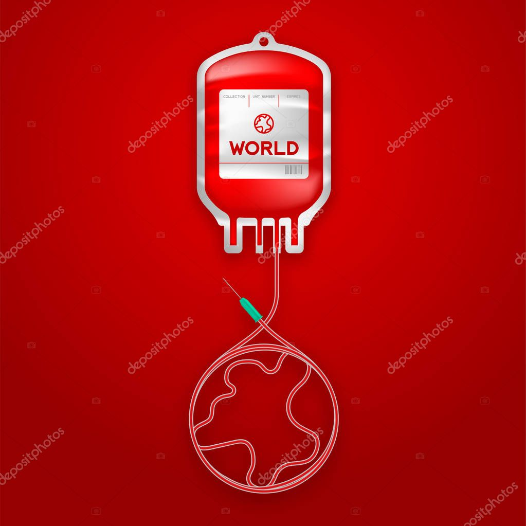 Blood bag red color with world sign shape made from cord illustration, environment conservation concept design isolated on red gradient background, with copy space