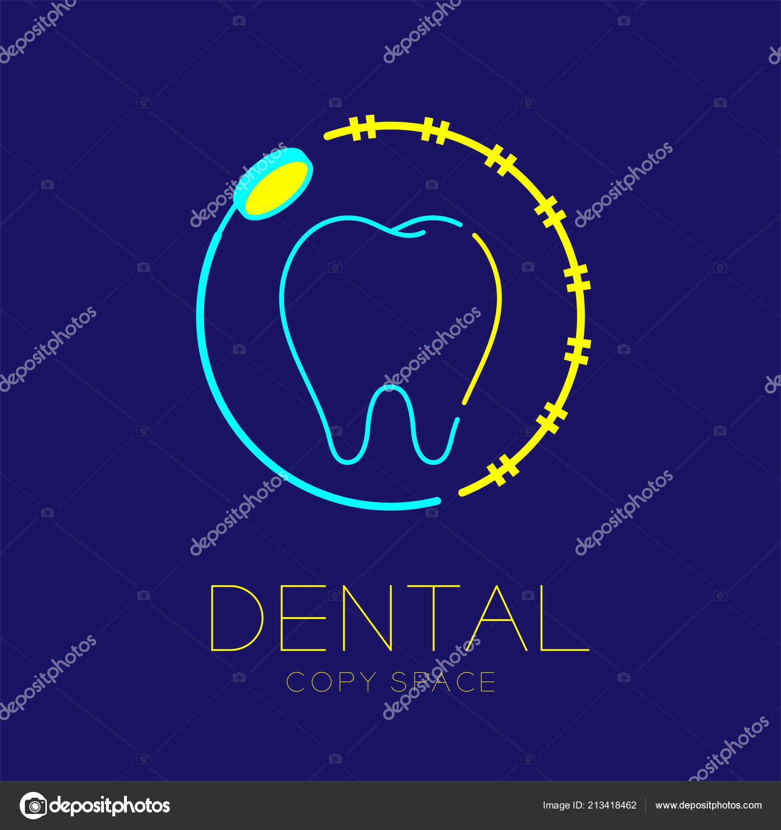 Dental Clinic Logo Icon Tooth Mouth Mirror Braces Circle Frame Stock Vector C Paitoon Pati 213418462