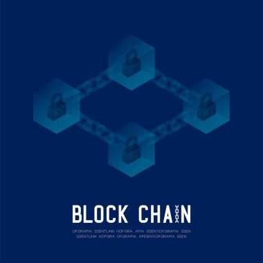 Blockchain technology 3D isometric virtual, Lock protect system offline concept design illustration isolated on dark blue background and Blockchain Text with copy space, vector eps 10