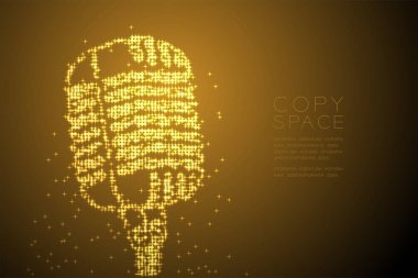 Abstract Shiny Star pattern Vintage microphone shape, music instrument concept design gold color illustration isolated on brown gradient background with copy space, vector eps 10