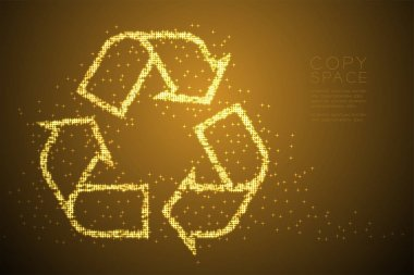 Abstract Shiny Bokeh star pattern Recycle sign, environment conservation concept design gold color illustration isolated on brown gradient background with copy space, vector eps 10