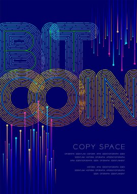 Bitcoin big text dot and dash line pattern layer overlay, Poster banner or flyer template layout design illustration isolated on blue background with copy space, vector eps10