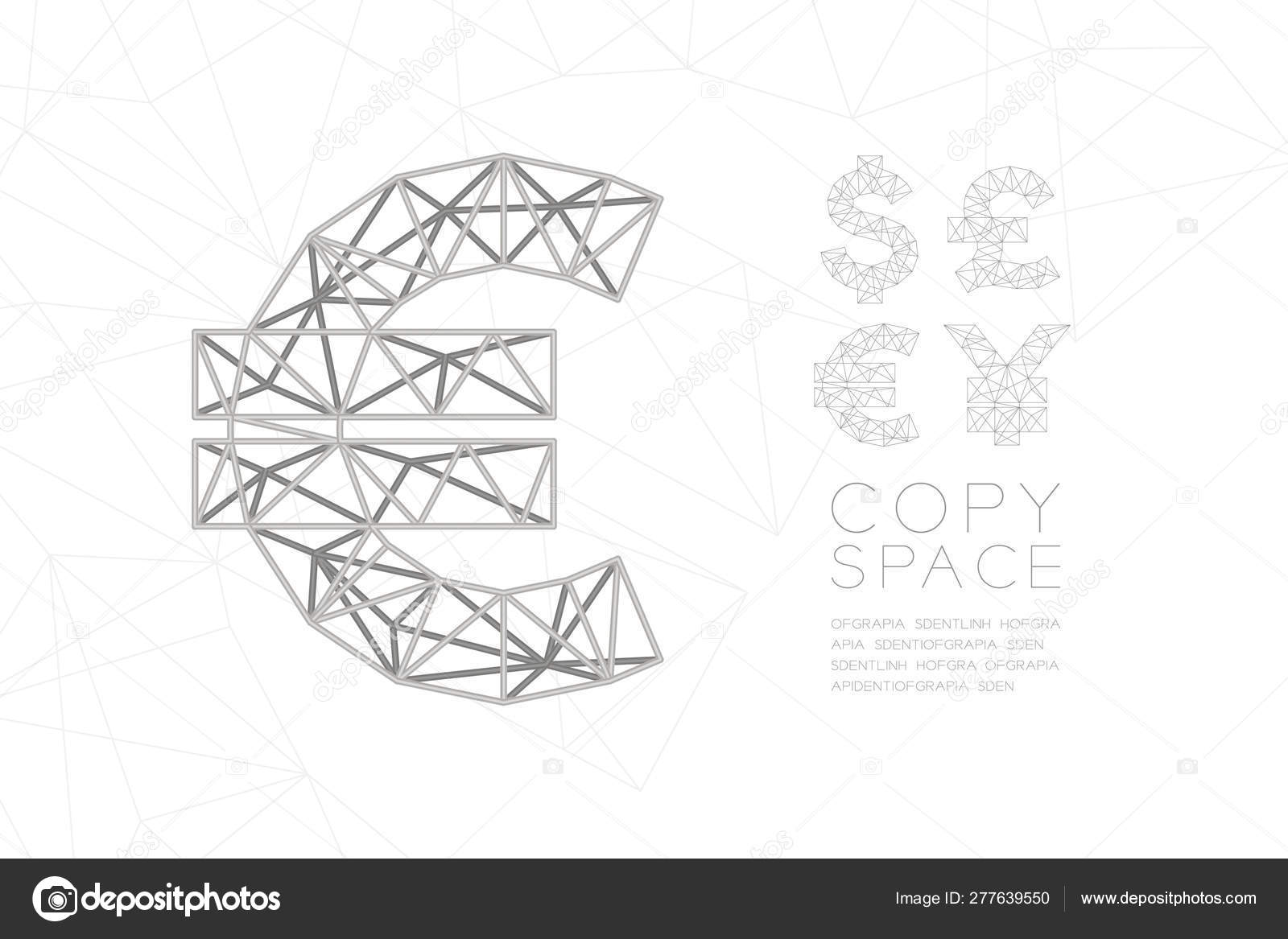 Currency EUR (European Euro) symbol wireframe Polygon silver