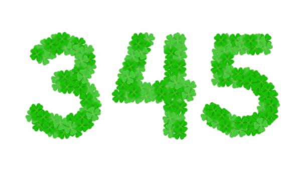Klee vier Blatt Muster Alphabet setzen Buchstaben Zahl Null auf neun und Satzzeichen, Viel Glück Konzept Design Illustration isoliert auf weißen Hintergrund Animation 4k mit Alpha matt Kanal